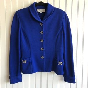 St John Collection Santana Knit Royal Blue Suit
